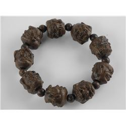 Hand Carved Wooden Buddha Head Flex Bracelet