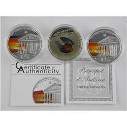 Lot (3) 925 Sterling Silver HI Tech Coins with Col