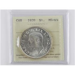 1939 CAD Silver Dollar. ICCS. MS63. (OER)