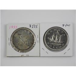 2x Canada Silver Dollars 1949 and 1955.