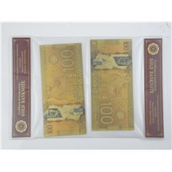 Lot (2) 24kt Gold Plated Banknote 100.00
