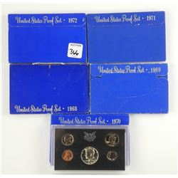 Lot (5) USA Proof Mint Coin Sets