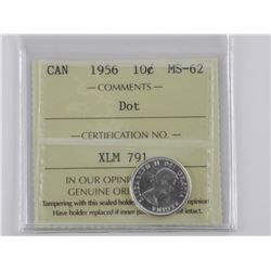 Canada 1956 Silver 10 Cent. MS62. ICCS. 'DOT'