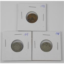 Lot (3) CAD Silver 10 Cents