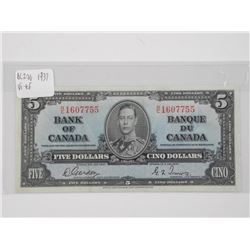 Bank of Canada 1937 Five Dollar Note. G/T