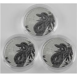 Lot (3) 2013 $20 Year of the Snake - Pure Silver C
