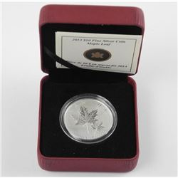2013 .9999 Fine Silver $10.00 Coin Maple Leaf with