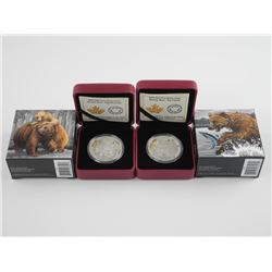 Lot (2) .9999 Fine Silver $20.00 Coin 'Grizzly Bea