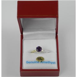 Ladies 14kt Gold Amethyst Solitaire Ring. 1.00ct.