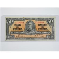 Bank of Canada 1937 - Fifty Dollar Note. G/T