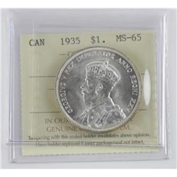 1935 Canada Silver Dollar. MS-65 ICCS - 1st Issue.