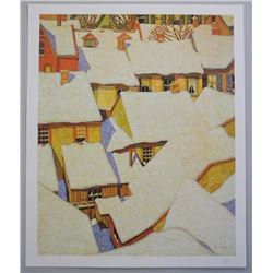 """A.J. Casson """"Rooftops"""" Hand Signed Lithograph."""