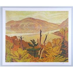 """A.J. Casson Hand Signed Lithograph """"Grey October"""