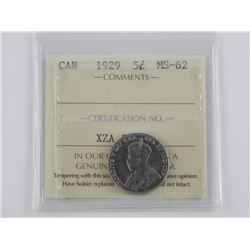 1929 CAN 5 Cent. MS-62. ICCS. (SKR)