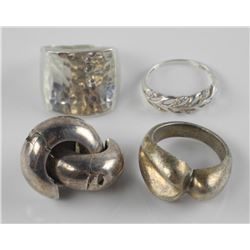 Lot (4) Estate Sterling Silver Rings and Earrings