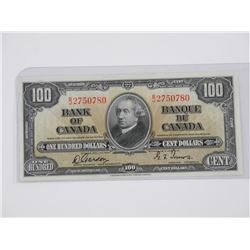 Bank of Canada 1937 One Hundred Dollar Note.