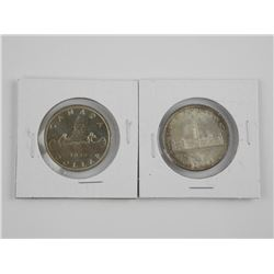 Lot (2) CAD Silver Dollars: 1939 and 1955
