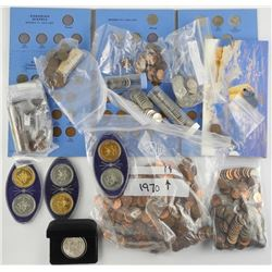 Estate Bag Lot - Coins, 'CAN and US' Medals, Notes