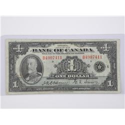 Bank of Canada 1935 - One Dollar Note. Osbourne To