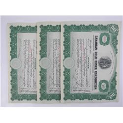 Lot (3) Canadian Gold Mines Stock Certificates