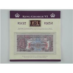 King George VI 1937-1952 Note, Stamp and Coins. Fo