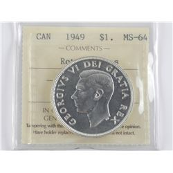 1949 CAD Silver Dollar MS64. Rotated Dies
