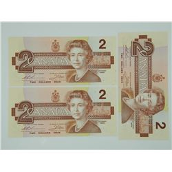 Lot (3) 1986 2.00 Crisp UNC Notes in Sequence