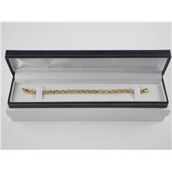 925 Silver Tennis Bracelet with 24kt Gold Plated a