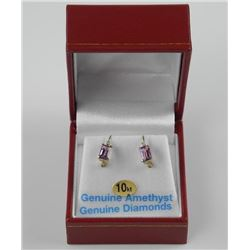 Ladies 10kt Gold Amethysts Earrings with Diamonds