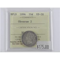 NFLD - 1896 Silver 20 Cent. VF-30. ICCS