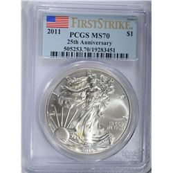 2011 AMERICAN SILVER EAGLE, PCGS MS-70 1st STRIKE