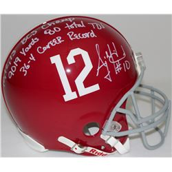 AJ McCarron Signed Alabama Full-Size Authentic Pro-Line Helmet with (4) Career Stats Inscriptions (R