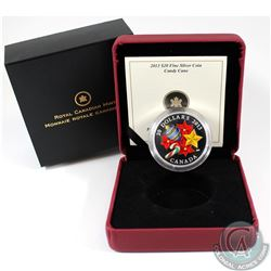 2013 Canada $20 Venetian Glass Candy Cane 1oz Fine Silver Coin (ink residue on clam shell case) Tax