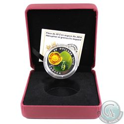 2014 Canada $20 Water-Lily & Venetian Glass Leopard Frog 1oz Fine Silver Coin (TAX Exempt). Coin com
