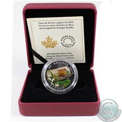 2015 $20 Venetian Glass Turtle with Broadleaf Arrowhead Flower Fine Silver Coin (TAX Exempt). Coin c