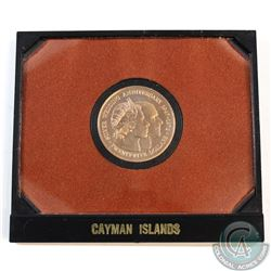 Cayman Island; 1972 $25 Silver Wedding Anniversary Commemorative Proof Gold Coin in Original Packagi