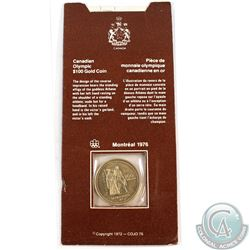 Canada 1976 $100 Montreal Olympic 14k Gold Coin in Original Cardboard Holder
