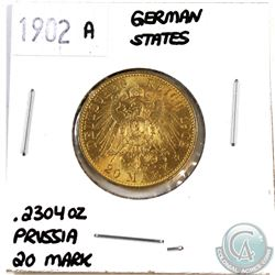1902 A German States 20 Mark Prussia Gold coin. Contains .2304 oz. of Pure Gold.