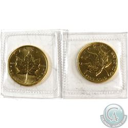 2x 1987 Canada 1/10 ounce $5 Gold Maple Leaf (TAX Exempt)