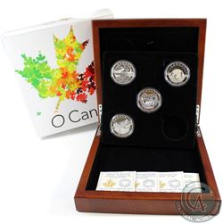 4x 2014 O Canada $25 Fine Silver Coins With Deluxe Wooden Display (Tax Exempt). This lot includes th