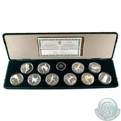 1988 Calgary Olympic Sterling Silver 10-Coin Set in the Original Display Case (capsules are lightly