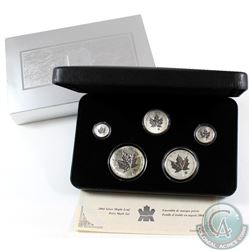 2004 Canada Silver Maple Leaf Privy 5-Coin Set (Tax Exempt). Outer sleeve is lightly worn and coins
