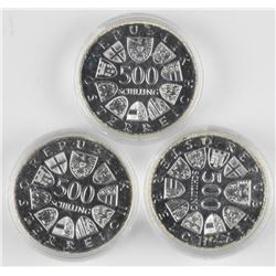 3x 500 Shilling Silver Coins