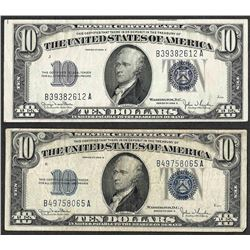 Lot of (2) 1934D $10 Silver Certificate Notes