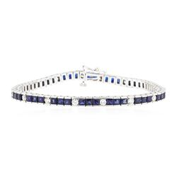 14KT White Gold 5.50 ctw Sapphire and Diamond Bracelet