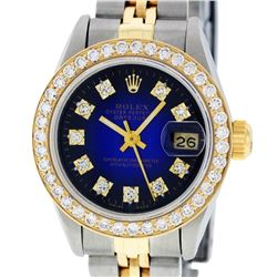 Rolex Ladies Two Tone 14K Blue Vignette VS Diamond Datejust Wristwatch