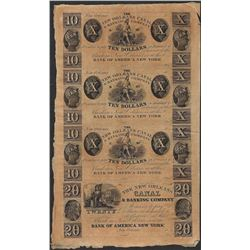 Uncut Sheet of 1800's New Orleans Canal & Banking Company Obsolete Notes