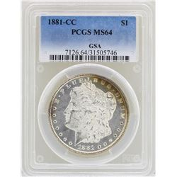 1881-CC $1 Morgan Silver Dollar Coin PCGS MS64 Great Toning