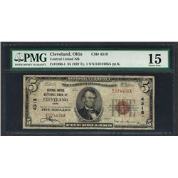 1929 $5 National Currency Note Cleveland, Ohio CH# 4318 PMG Choice Fine 15