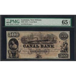 1850's $500 Canal Bank New Orleans Obsolete Note PMG Gem Uncirculated 65EPQ
